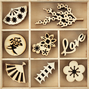 Oriental - Themed Mini Wooden Flourishes 40/Pkg