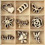 Bloom - Themed Mini Wooden Flourishes 45/Pkg