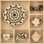 Tea Party - Themed Mini Wooden Flourishes 30/Pkg