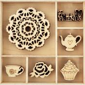 Tea Party - Themed Mini Wooden Flourishes 30/Pkg