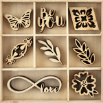 Be You - Themed Mini Wooden Flourishes 40/Pkg