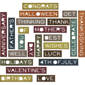 Sentiment Words, Thin - Sizzix Thinlits Dies By Tim Holtz 23/Pkg