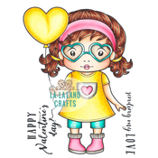 "Heart Glasses Marci - La-La Land Cling Stamps 4.5""X3.5"""