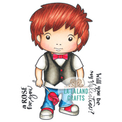 """Luka With Rose - La-La Land Cling Stamps 4.5""""X3.5"""""""