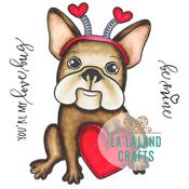 "Love Bug Frenchie - La-La Land Cling Stamps 4.5""X3.5"""