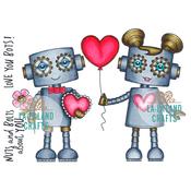 """Love Robots - La-La Land Cling Stamps 4.5""""X3.5"""""""
