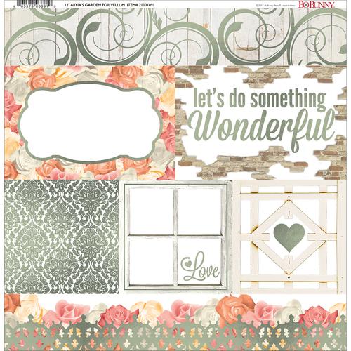 Aryia's Garden Foiled Vellum Paper - Bo Bunny