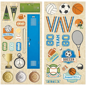 """Game On! Adhesive Chipboard Accents 6""""X12"""" 2/Pkg"""