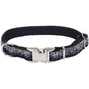 "5/8"" Black, Neck Size 8""-12"" - Pet Attire Sparkles Adjustable Dog Collar W/Metal Buckle"