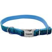 "5/8"" Blue, Neck Size 12""-18"" - Pet Attire Sparkles Adjustable Dog Collar W/Metal Buckle"