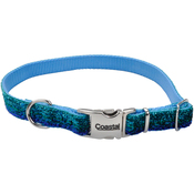 "5/8"" Blue, Neck Size 8""-12"" - Pet Attire Sparkles Adjustable Dog Collar W/Metal Buckle"