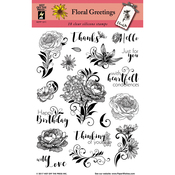 "Floral Greetings - Hot Off The Press Acrylic Stamps 6""X8"""