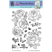 "Watercolor Roses - Hot Off The Press Acrylic Stamps 6""X8"""