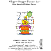"""Happy """"Bird""""Day - Whipper Snapper Cling Stamp 4""""X6"""""""