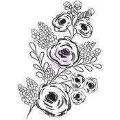 Rosy Posey #2 - Christine Adolf Cling Rubber Stamps