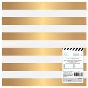 Magnolia Jane Gold Foil Stripe 12x12 Paper