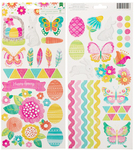 Hello Spring Glitter Accent and Phrase Stickers - American Crafts
