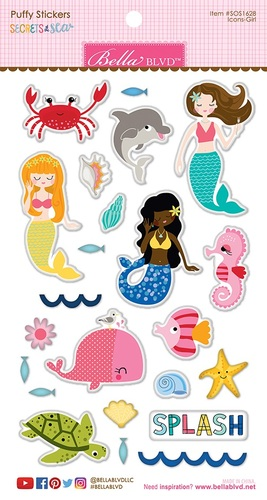 Secrets Of The Sea Girl Puffy Stickers - Bella Blvd