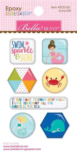 Secrets Of The Sea Girl Epoxy Icon Stickers - Bella Blvd