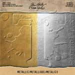 "Metallic Gold & Silver Idea-Ology Kraft Stock Cardstock Pad 8""X8"" - Tim Holtz"