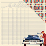 "#2 Classic Car & Grid/Multi Rectangles - Dapper Double-Sided Cardstock 12""X12"""