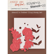 "Leaves & Berries - Studio 490 Stamp It Stencil It 7""X8.5"""