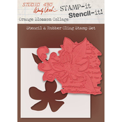 "Orange Blossom Collage - Studio 490 Stamp It Stencil It 7""X8.5"""