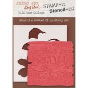 """Wild Rose Collage - Studio 490 Stamp It Stencil It 7""""X8.5"""""""