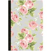 "Gray Floral W/80 Dotted Grid Sheets - Color Crush Composition Planner Notebook 7.5""X9.75"""