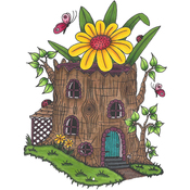 "Tree Stump House - Riley & Company Mushroom Lane Cling Stamp 4""X3.75"""