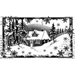 "Little Cottage In The Snow - Crafty Individuals Unmounted Rubber Stamp 4""X2.5"" Pkg"
