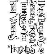 "Everyday Curly Words - Crafty Individuals Unmounted Rubber Stamp 3.75""X5.5"" Pkg"