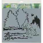 "Deer In Woods - Crafter's Workshop Template 12""X12"""
