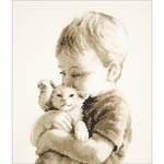 "6""X9"" 14 Count - Boy With Kitten On Aida Counted Cross Stitch Kit"