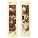 """3""""X6"""" 14 Count - Cat & Dog Bookmarks On Aida Counted Cross Stitch Kit"""