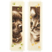 "3""X6"" 14 Count - Cat & Dog Bookmarks On Aida Counted Cross Stitch Kit"