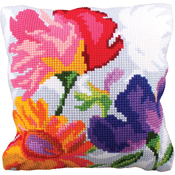 Stylish Flowers II - Collection D'Art Stamped Needlepoint Cushion Kit 40X40cm