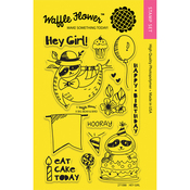"Hey Girl - Waffle Flower Crafts Clear Stamps 4""X6"""