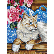 Cat On Shelf - Collection D'Art Needlepoint Printed Tapestry Canvas 40X50cm