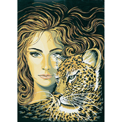 Head Of A Girl With Leopard - Collection D'Art Needlepoint Printed Tapestry Canvas 60X50cm