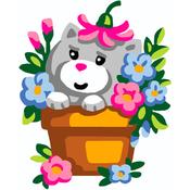 Kitten In Flowerpot - Collection D'Art Stamped Needlepoint Kit 20X25cm