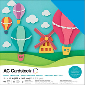 "Brights - American Crafts Variety Cardstock Pack 12""X12"" 60/Pkg"