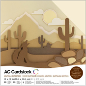 "Neutrals - American Crafts Variety Cardstock Pack 12""X12"" 60/Pkg"