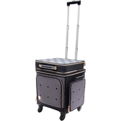 Black & White Geometric Print - 2-In-1 Crafter's 360 Rolling Bag W/Detachable Briefcase