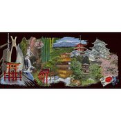 """31""""X13.75"""" 18 Count - Japan Black Edition On Aida Counted Cross Stitch Kit"""