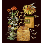 """10.5""""X13.75"""" 18 Count - Honey Sampler On Aida Counted Cross Stitch Kit"""