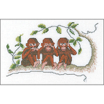 "7.5""X5"" 16 Count - Three Wise Monkeys On Aida Counted Cross Stitch Kit"