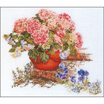 """17.75""""X19.5"""" 16 Count - Hydrangea & Pansies On Aida Counted Cross Stitch Kit"""