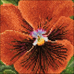 """3.75""""X3.75"""" 18 Count - Pansy V On Aida Counted Cross Stitch Kit"""