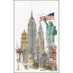 "19.5""X31"" 18 Count - New York On Aida Counted Cross Stitch Kit"